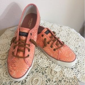 NWOT SPERRY Floral Printed Canvas Top Siders Flats